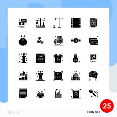 Stock Vector Icon Pack of 25 Line Signs and Symbols for news letter, newspaper, tube, news, strip Editable Vector Design Elements icon