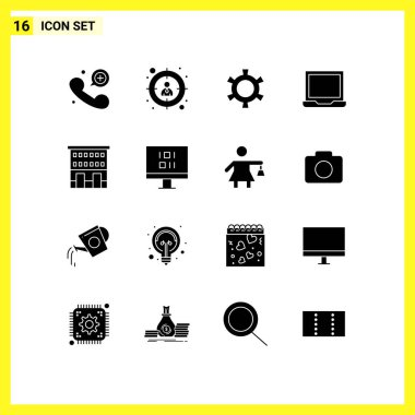 Stock Vector Icon Pack of 16 Line Signs and Symbols for retail, buildings, gear, setting, laptop Editable Vector Design Elements icon