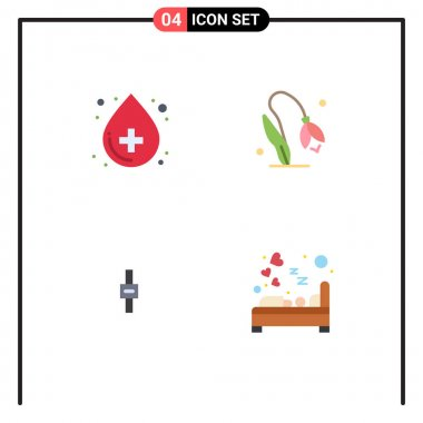 Pack of 4 Modern Flat Icons Signs and Symbols for Web Print Media such as blood, sound, medical, nature, volume Editable Vector Design Elements icon