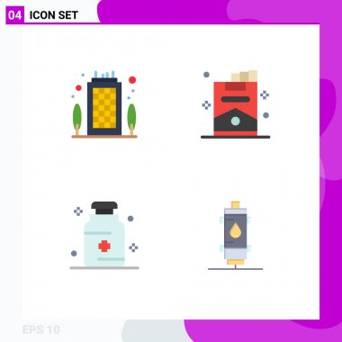 Editable Vector Line Pack of 4 Simple Flat Icons of building, hospital, destination, smoking, medicine Editable Vector Design Elements icon