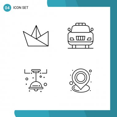 Stock Vector Icon Pack of 4 Line Signs and Symbols for hobby, decorate, car, kitchen, location Editable Vector Design Elements icon