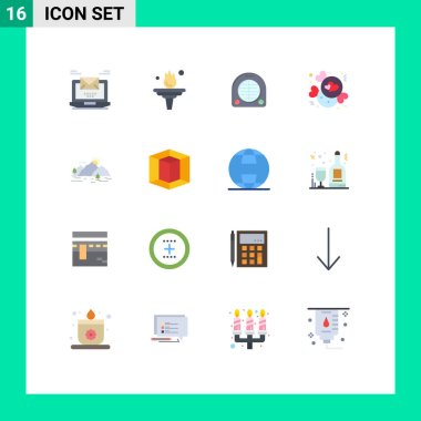 16 Creative Icons Modern Signs and Symbols of mountain, love, training, chocolate, home Editable Pack of Creative Vector Design Elements icon