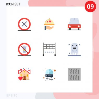Mobile Interface Flat Color Set of 9 Pictograms of finish, no, heart, food, and Editable Vector Design Elements