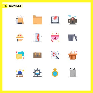 Set of 16 Modern UI Icons Symbols Signs for wedding, dish, laptop, room, hospital Editable Pack of Creative Vector Design Elements icon
