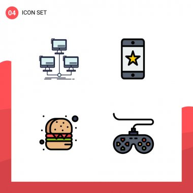 Stock Vector Icon Pack of 4 Line Signs and Symbols for database, burger, network, award, food Editable Vector Design Elements icon