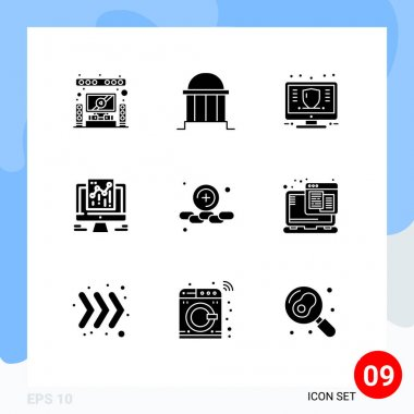 Stock Vector Icon Pack of 9 Line Signs and Symbols for web, data, institute, analytics, money Editable Vector Design Elements icon