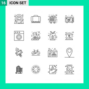 Mobile Interface Outline Set of 16 Pictograms of mac, oven, gifts, microwave, shopping Editable Vector Design Elements