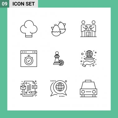Stock Vector Icon Pack of 9 Line Signs and Symbols for chess, stopwatch, cooperation, page, browser Editable Vector Design Elements icon