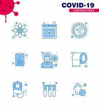 Simple Set of Covid-19 Protection Blue 25 icon pack icon included pain, head, coronavirus, report, health chart viral coronavirus 2019-nov disease Vector Design Elements icon