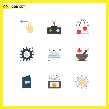 Stock Vector Icon Pack of 9 Line Signs and Symbols for meal, food, food, options, generate Editable Vector Design Elements icon