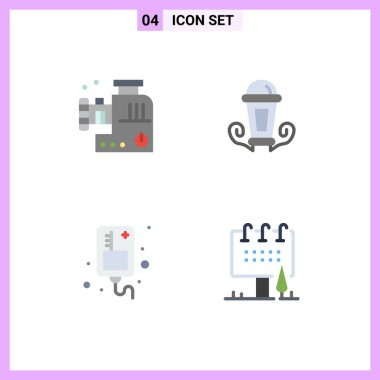 4 User Interface Flat Icon Pack of modern Signs and Symbols of food mincer, infusion, meat mixer, lamp, medical Editable Vector Design Elements icon