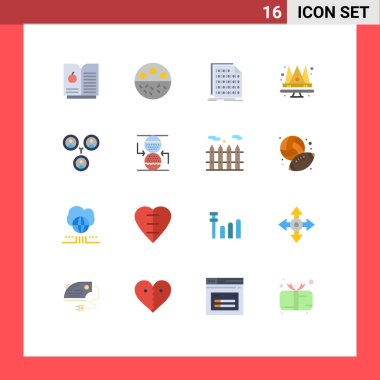 Stock Vector Icon Pack of 16 Line Signs and Symbols for friends, queen, code, king, crown Editable Pack of Creative Vector Design Elements icon