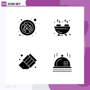 Stock Vector Icon Pack of 4 Line Signs and Symbols for fighter, erase, place, hobbies, christmas Editable Vector Design Elements icon