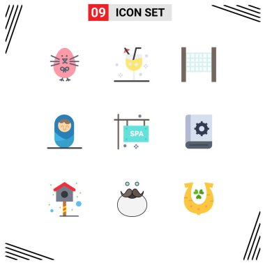 Stock Vector Icon Pack of 9 Line Signs and Symbols for assistant, spa, glass, sign, boy Editable Vector Design Elements icon