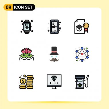 Stock Vector Icon Pack of 9 Line Signs and Symbols for movember, moustache, diploma, eye mask, carnival mask Editable Vector Design Elements icon