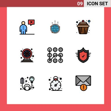 Stock Vector Icon Pack of 9 Line Signs and Symbols for game, wheel, connection, muffin, cake Editable Vector Design Elements icon