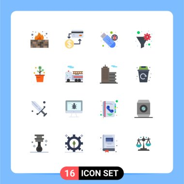Stock Vector Icon Pack of 16 Line Signs and Symbols for gear filter, filter, marketing, data filter, usb Editable Pack of Creative Vector Design Elements icon