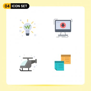 Set of 4 Commercial Flat Icons pack for bulb, game, solution, content, fast Editable Vector Design Elements icon