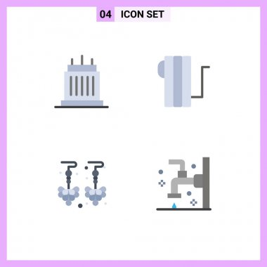 Flat Icon Pack of 4 Universal Symbols of buildings, drop, property, electric, jewelry Editable Vector Design Elements icon