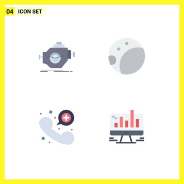 Pack of 4 creative Flat Icons of engine, emergency, motor, moon, business Editable Vector Design Elements icon