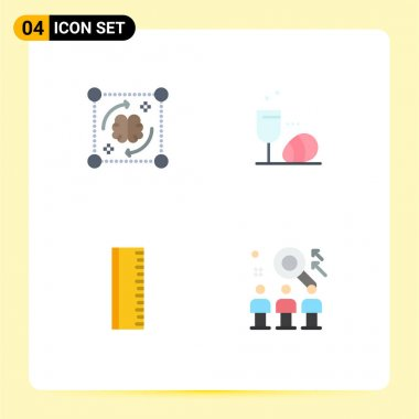 Editable Vector Line Pack of 4 Simple Flat Icons of mind, education, brain, egg, school Editable Vector Design Elements icon