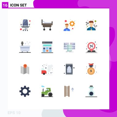 Universal Icon Symbols Group of 16 Modern Flat Colors of yoga, spa, development, beauty, teacher Editable Pack of Creative Vector Design Elements icon