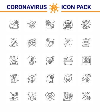 Corona virus 2019 and 2020 epidemic 25 line icon pack such as human, communication, medical, touch, pandemic viral coronavirus 2019-nov disease Vector Design Elements icon