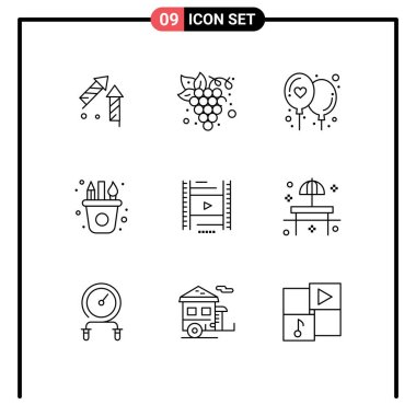 Stock Vector Icon Pack of 9 Line Signs and Symbols for filam, vedio, affection, craft, arts Editable Vector Design Elements icon