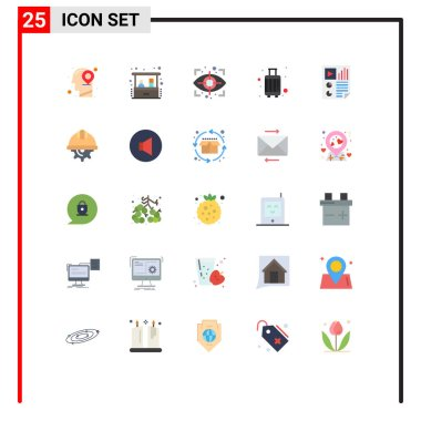 Stock Vector Icon Pack of 25 Line Signs and Symbols for document, travel, eye, suitcase, case Editable Vector Design Elements icon
