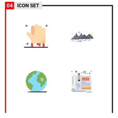 Set of 4 Commercial Flat Icons pack for bloody, earth, scary, landscape, international Editable Vector Design Elements icon