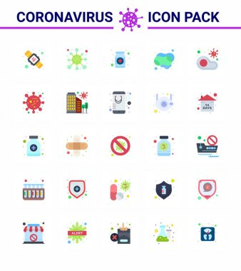 25 Flat Color viral Virus corona icon pack such as soap, cleaning, virus, bottle, health viral coronavirus 2019-nov disease Vector Design Elements icon