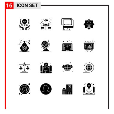 Stock Vector Icon Pack of 16 Line Signs and Symbols for islam, tower, table, mosque, imac Editable Vector Design Elements icon