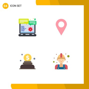 Pack of 4 Modern Flat Icons Signs and Symbols for Web Print Media such as browser, money, option, pin, labour Editable Vector Design Elements icon