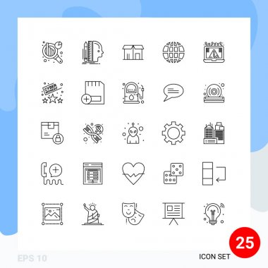 Stock Vector Icon Pack of 25 Line Signs and Symbols for crime, internet, ecommerce, globe, earth Editable Vector Design Elements icon