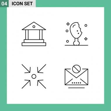 Stock Vector Icon Pack of 4 Line Signs and Symbols for bank, expand, chicken leg, turkey leg, information Editable Vector Design Elements icon