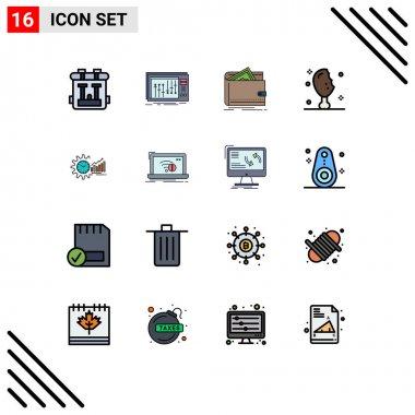 Set of 16 Modern UI Icons Symbols Signs for turkey leg, meat, studio, chicken leg, personal Editable Creative Vector Design Elements icon