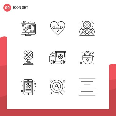 Stock Vector Icon Pack of 9 Line Signs and Symbols for medical, ambulance, agriculture, machine, fan Editable Vector Design Elements icon