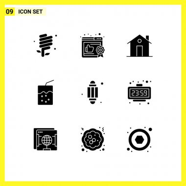 Stock Vector Icon Pack of 9 Line Signs and Symbols for lantern, soda, building, drink, house Editable Vector Design Elements icon