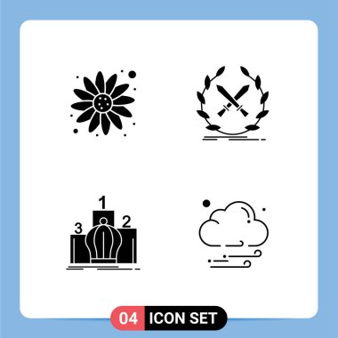 Stock Vector Icon Pack of 4 Line Signs and Symbols for carnival, king, battle, label, monarchy Editable Vector Design Elements icon