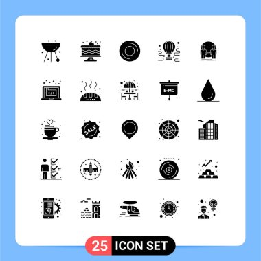 Stock Vector Icon Pack of 25 Line Signs and Symbols for travel, airdrop, party, air, gadget Editable Vector Design Elements icon
