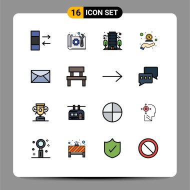 Stock Vector Icon Pack of 16 Line Signs and Symbols for chat, money, building, in, cash back Editable Creative Vector Design Elements icon