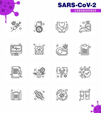 Novel Coronavirus 2019-nCoV. 16 Line icon pack medical monitor, sanitizer, care, hand sanitizer, corona viral coronavirus 2019-nov disease Vector Design Elements icon