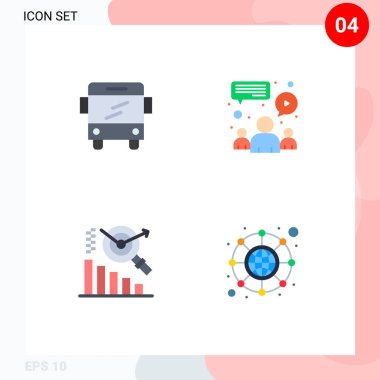 Stock Vector Icon Pack of 4 Line Signs and Symbols for bus, search, chat, team, hierarchy Editable Vector Design Elements icon