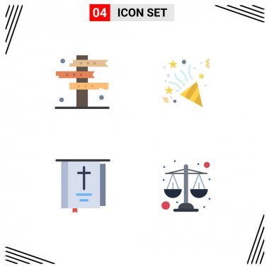 Flat Icon Pack of 4 Universal Symbols of cowboy, book, signs, fireworks, religion Editable Vector Design Elements icon