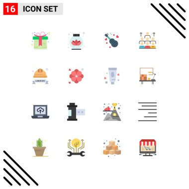 Set of 16 Modern UI Icons Symbols Signs for resources, management, song, leadership, business Editable Pack of Creative Vector Design Elements icon