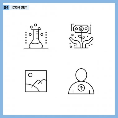 Stock Vector Icon Pack of 4 Line Signs and Symbols for health, money, laboratory, growth, gallery Editable Vector Design Elements icon