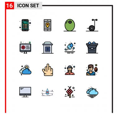 Stock Vector Icon Pack of 16 Line Signs and Symbols for coding, scooter, location, motor, olive Editable Creative Vector Design Elements icon