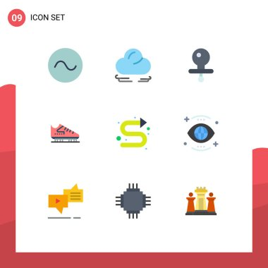 Stock Vector Icon Pack of 9 Line Signs and Symbols for left, directional, nipple, arrows, skates Editable Vector Design Elements icon