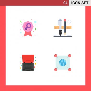 4 User Interface Flat Icon Pack of modern Signs and Symbols of badge, friday, woman, pencil, laptop Editable Vector Design Elements icon
