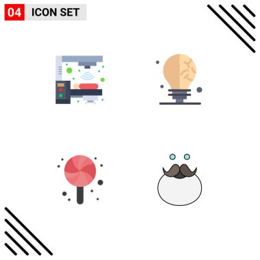 Flat Icon Pack of 4 Universal Symbols of machine, candy, scanner, science, hipster Editable Vector Design Elements icon